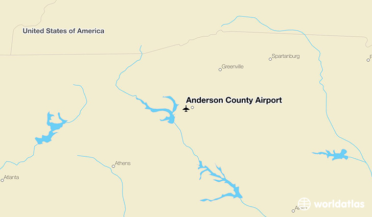 Anderson County Airport location on a map