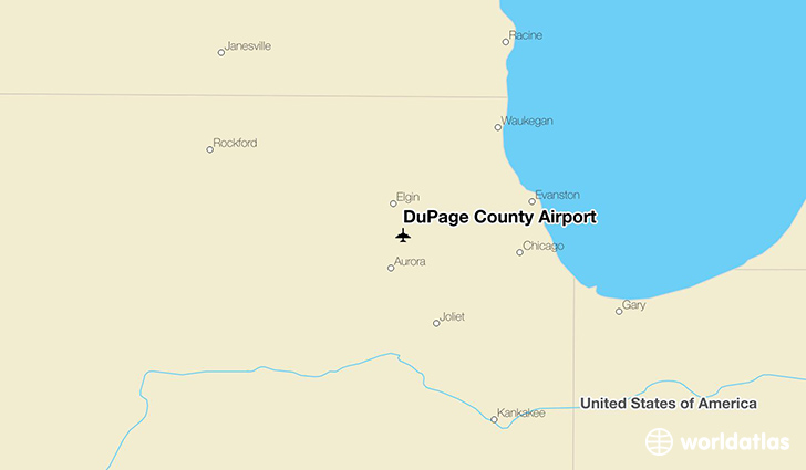 DuPage County Airport location on a map