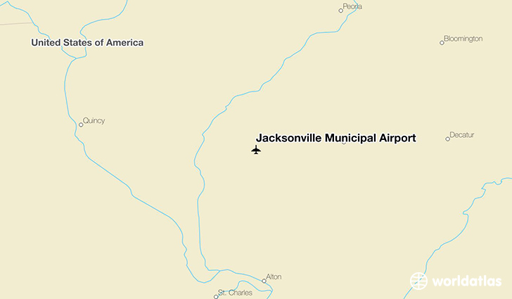Jacksonville Municipal Airport location on a map