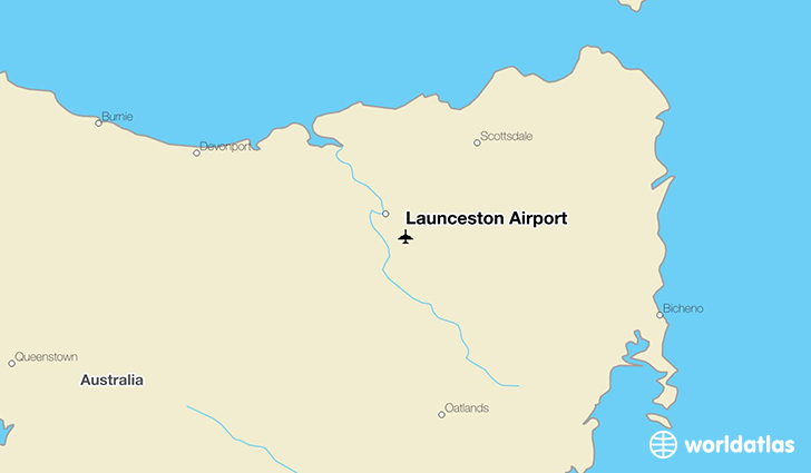 Launceston Airport location on a map