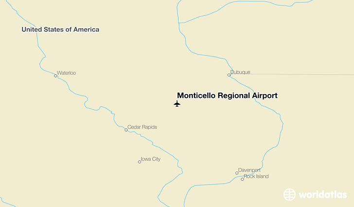Monticello Regional Airport location on a map