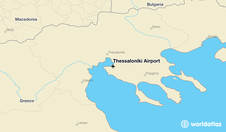 Thessaloniki Airport location on a map