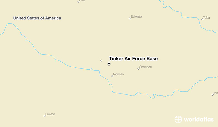 Tinker Air Force Base location on a map