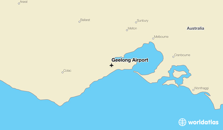 Geelong Airport location on a map