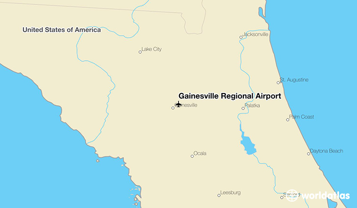 Gainesville Regional Airport location on a map