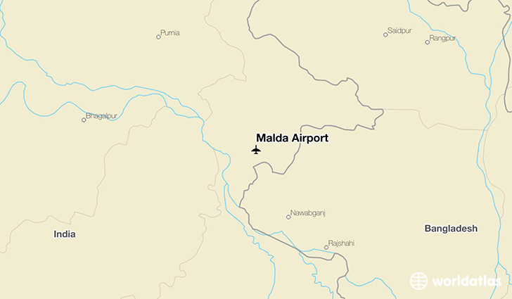 Malda Airport location on a map