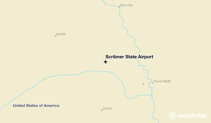 Scribner State Airport location on a map