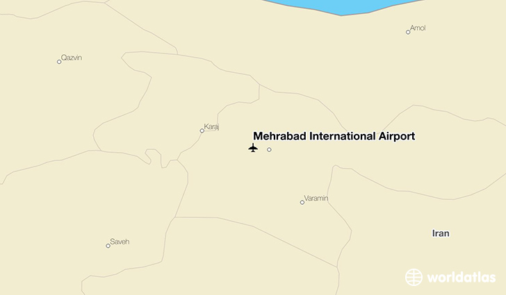 Mehrabad International Airport location on a map