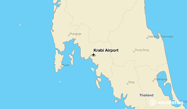 Krabi Airport location on a map