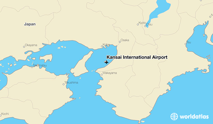 Kansai International Airport location on a map