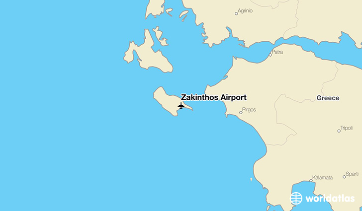 Zakinthos Airport location on a map