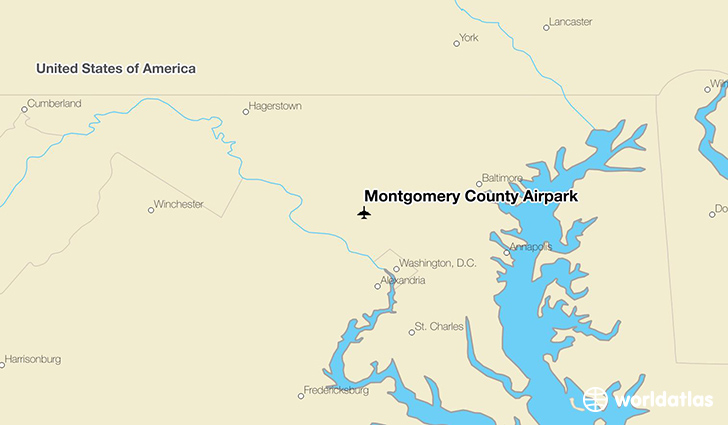 Montgomery County Airpark location on a map