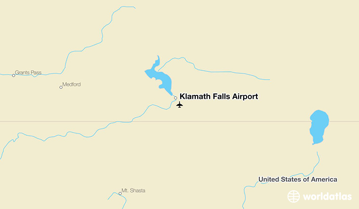 Klamath Falls Airport (LMT) - WorldAtlas on corvallis or map, milton freewater or map, culver or map, lake county or map, douglas county or map, waldport or map, medford or map, mitchell or map, eugene or map, lane county or map, brookings or map, bend or map, roseburg or map, tidewater or map, huntington or map, hermiston or map, hood river or map, lakeview or map, boring or map, prineville or map,