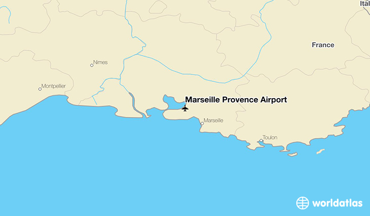 Marseille Provence Airport location on a map