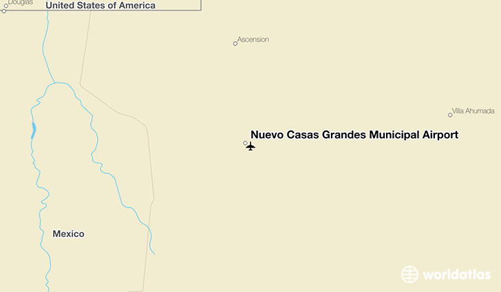 Nuevo Casas Grandes Municipal Airport location on a map