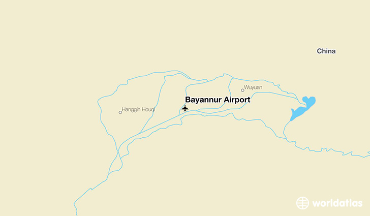 Bayannur China  city photo : Location of Bayannur Airport on a map.