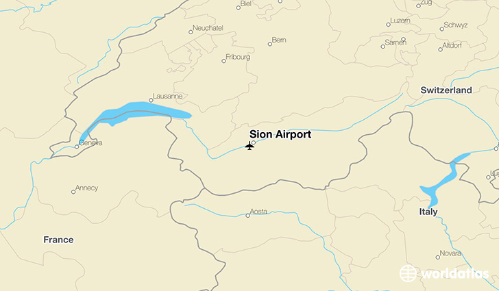 Sion Airport location on a map
