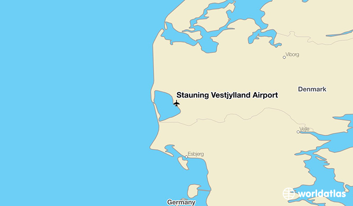 Stauning Vestjylland Airport location on a map