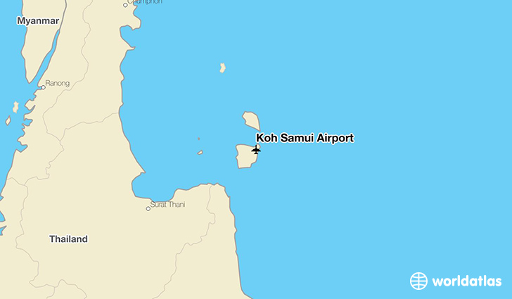 Koh Samui Airport location on a map