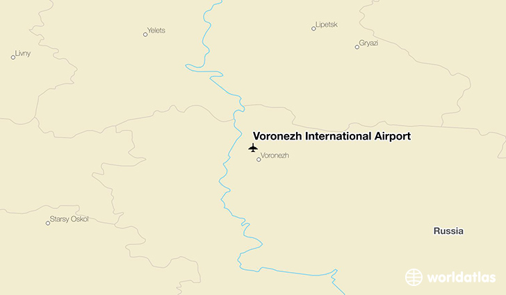 Voronezh International Airport location on a map