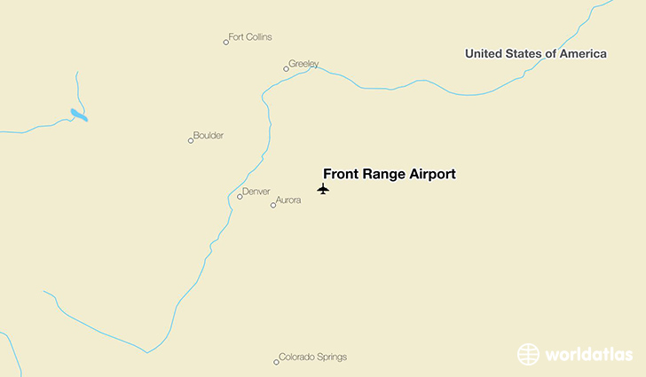 Front Range Airport location on a map