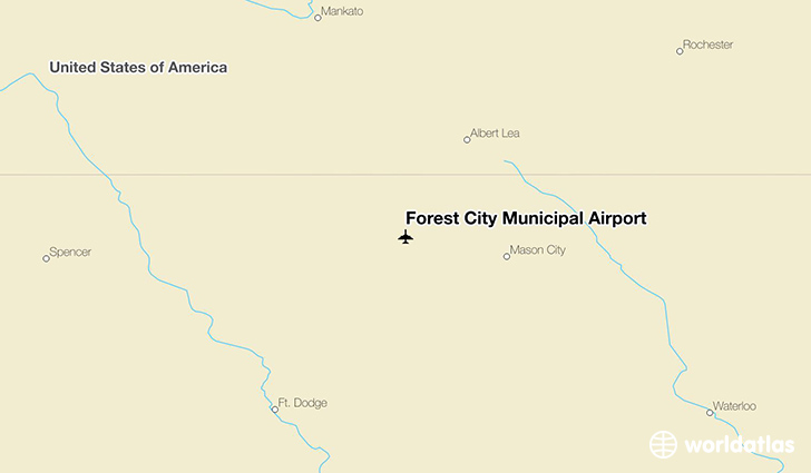 Forest City Municipal Airport location on a map
