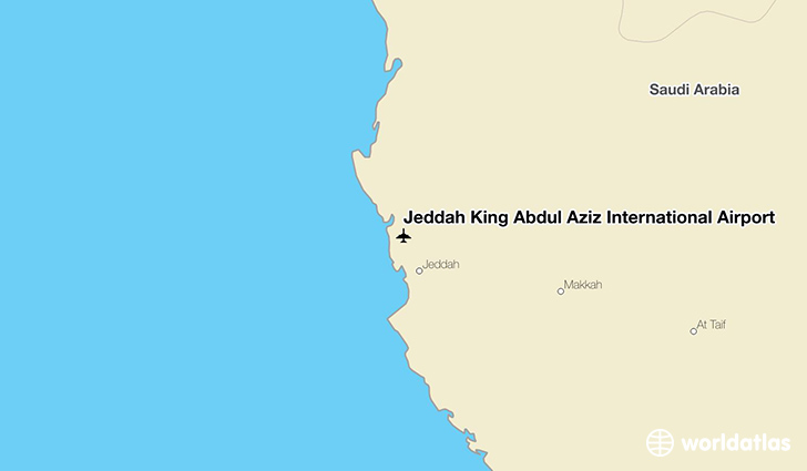 Jeddah King Abdul Aziz International Airport location on a map