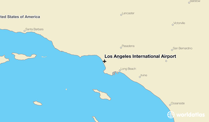 Los Angeles International Airport location on a map