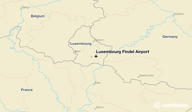 Luxembourg Findel Airport location on a map