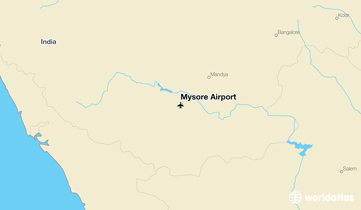 Mysore Airport location on a map