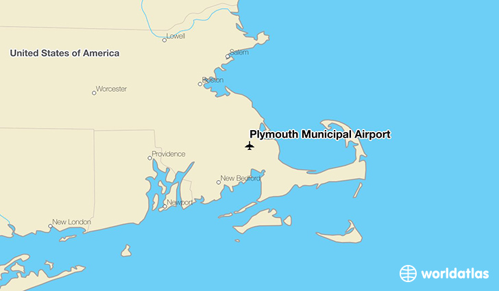 Plymouth Municipal Airport location on a map