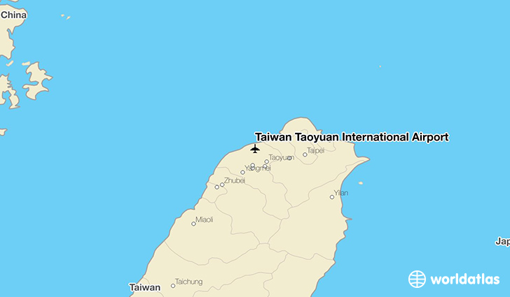 Taiwan Taoyuan International Airport location on a map