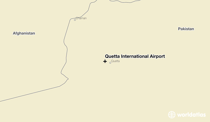 Quetta International Airport location on a map