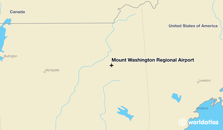 Mount Washington Regional Airport location on a map