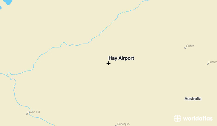 Hay Airport location on a map