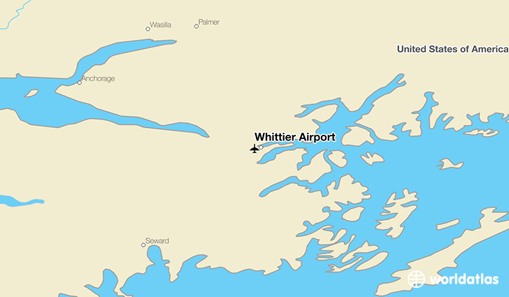 Whittier Airport location on a map
