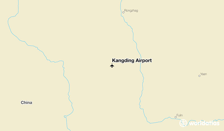 Kangding Airport location on a map