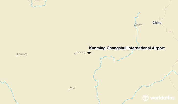 Kunming Changshui International Airport location on a map