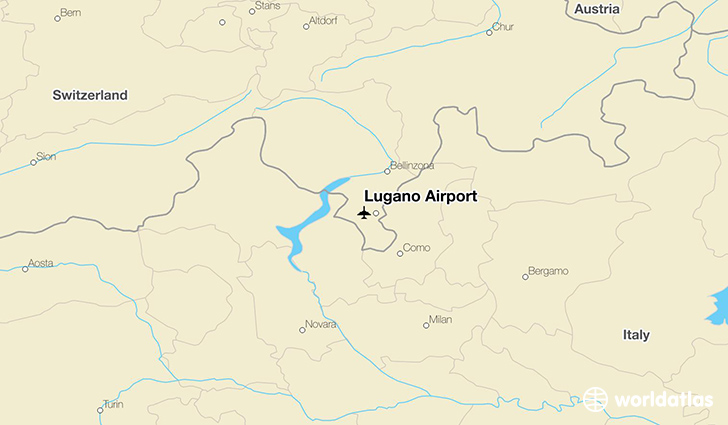 Lugano Airport location on a map