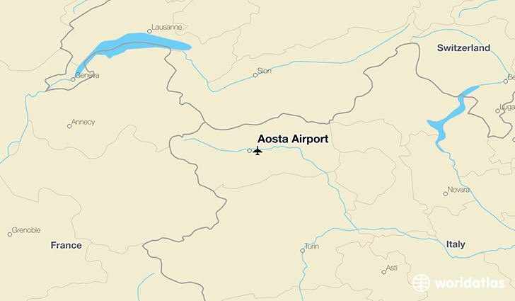 Aosta Airport location on a map