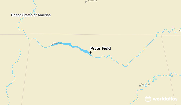 Pryor Field location on a map