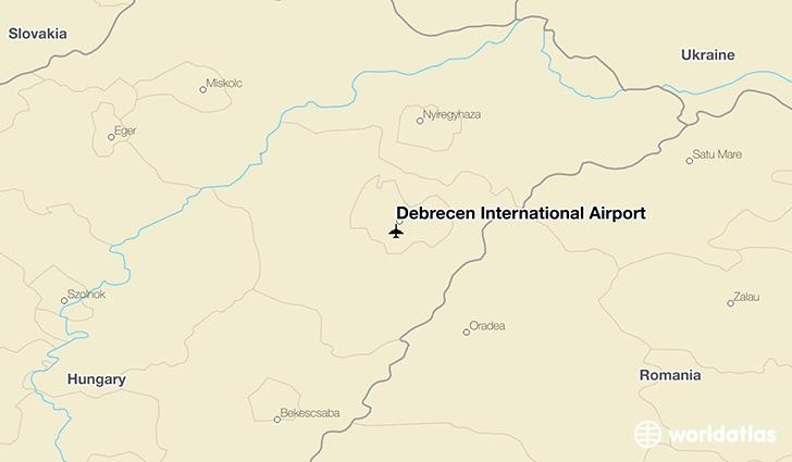 Debrecen International Airport location on a map