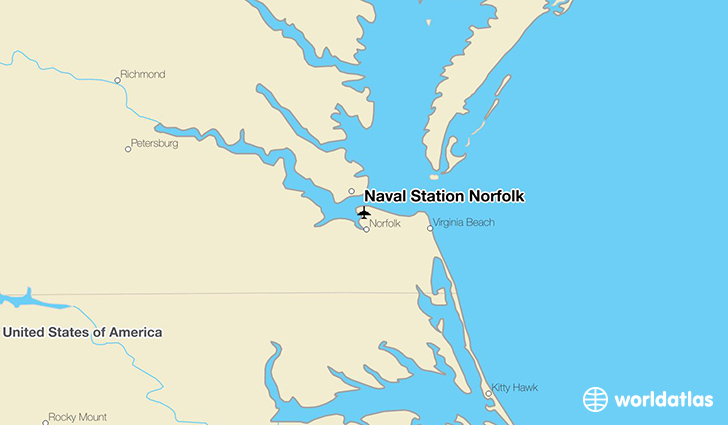 Naval Station Norfolk location on a map