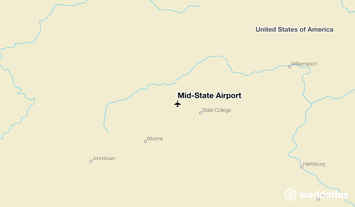 Mid-State Airport location on a map