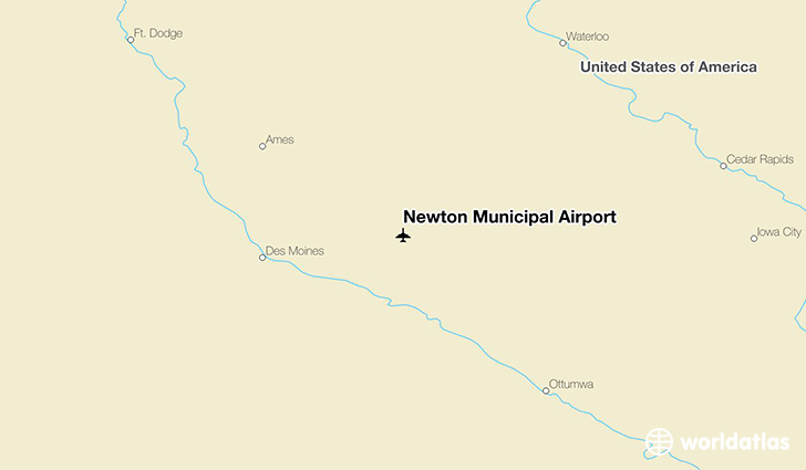 Newton Municipal Airport location on a map