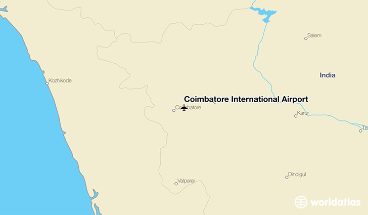 Coimbatore International Airport location on a map