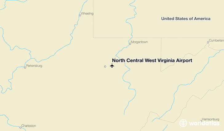 North Central West Virginia Airport location on a map