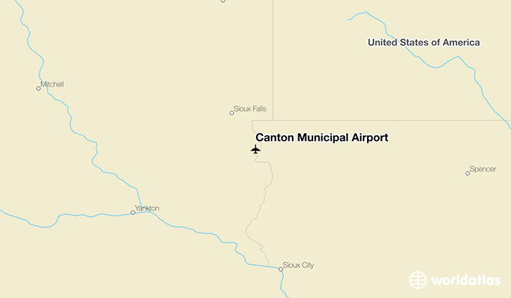 Canton Municipal Airport location on a map