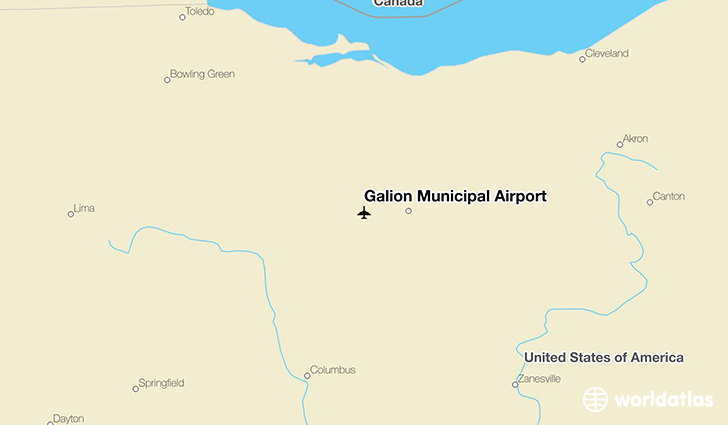Galion Municipal Airport location on a map