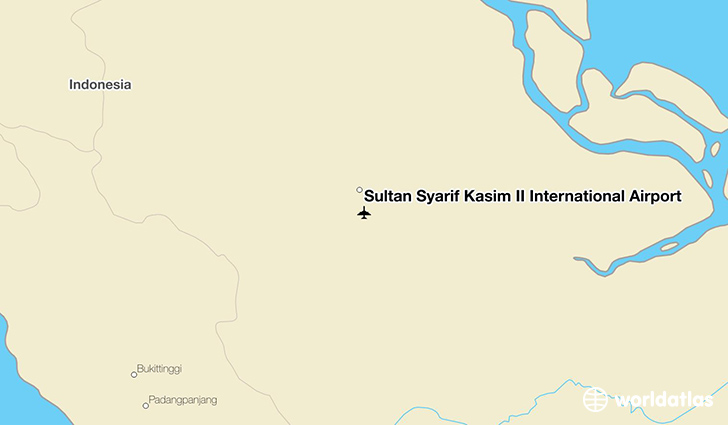 Sultan Syarif Kasim II International Airport location on a map